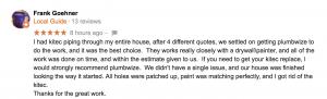Frank Goehner Customer Review
