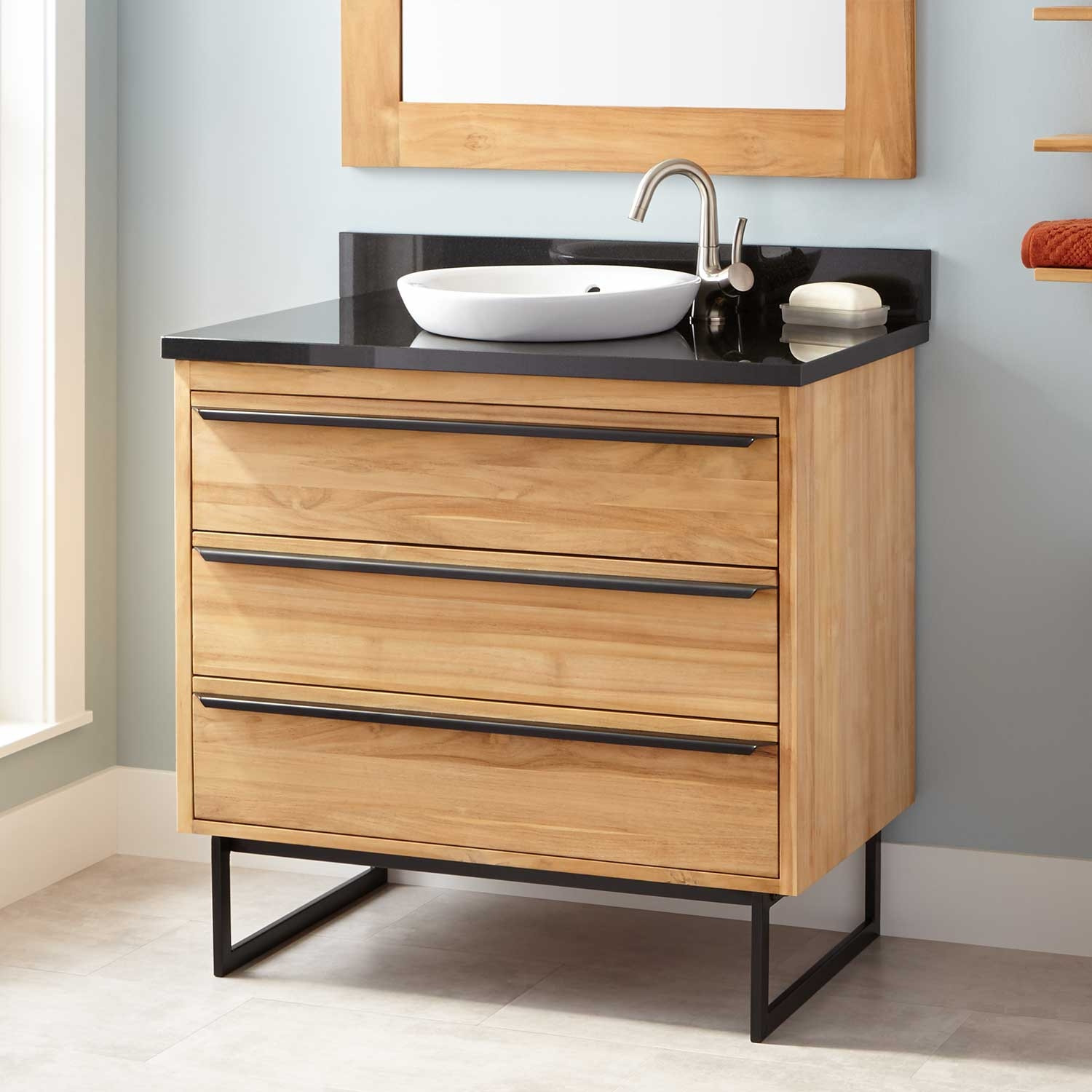 Hamilton plumber installed contrasting bathroom vanity