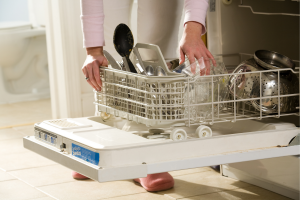 Close up of a woman loading a dishwasher