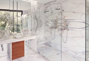 Marble-lined double shower