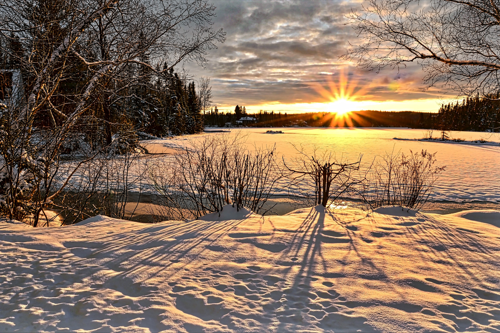 A winter scene at sunset