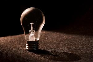 Close up of an unscrewed lightbulb