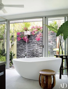 Waterfall shower in the garden of a Florida home