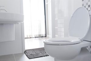 A newly installed toilet